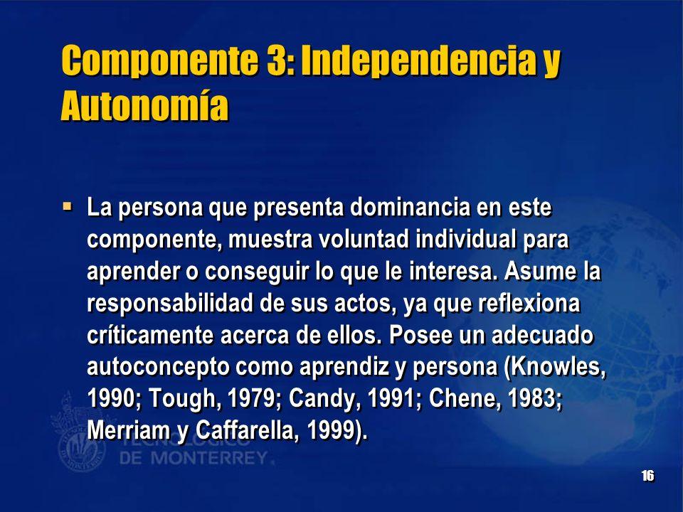 Componente 3: Independencia y Autonomía