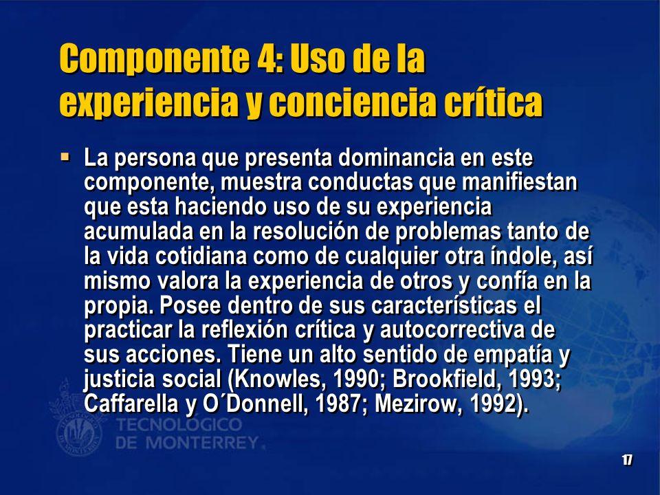 Componente 4: Uso de la experiencia y conciencia crítica