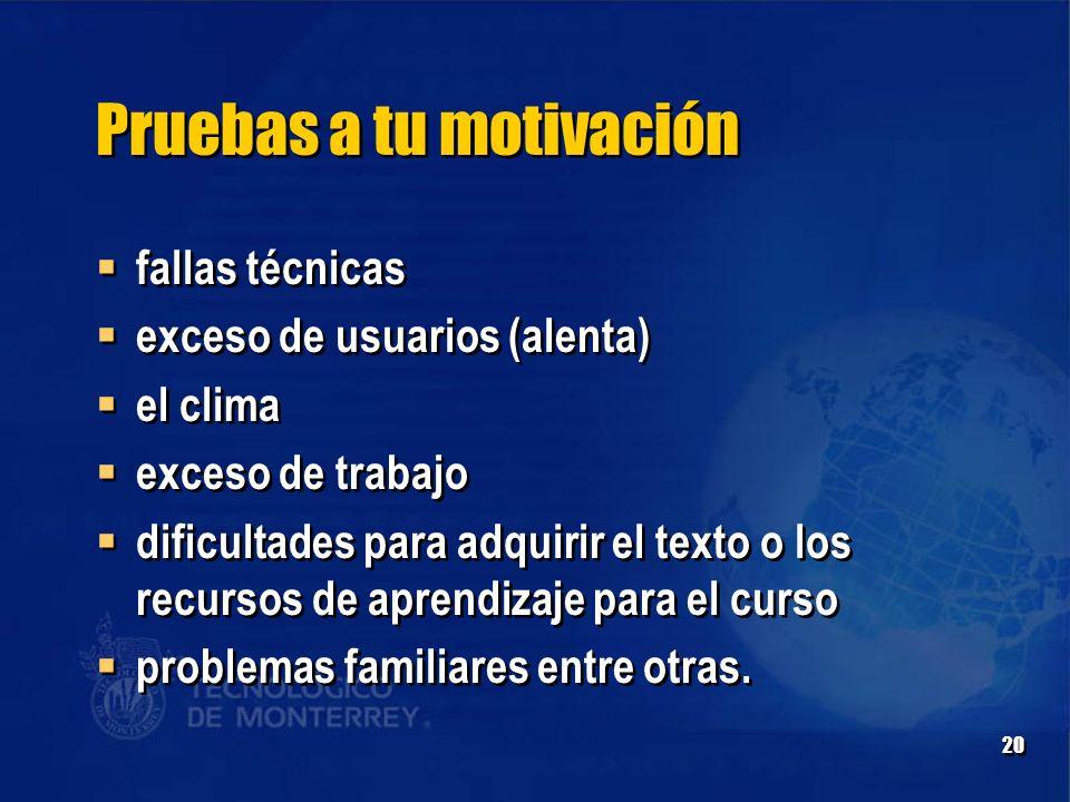 Pruebas a tu motivación