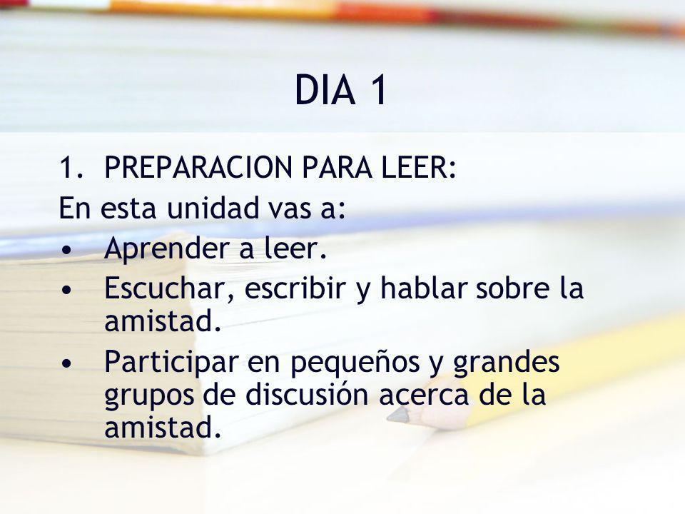DIA 1 PREPARACION PARA LEER: En esta unidad vas a: Aprender a leer.