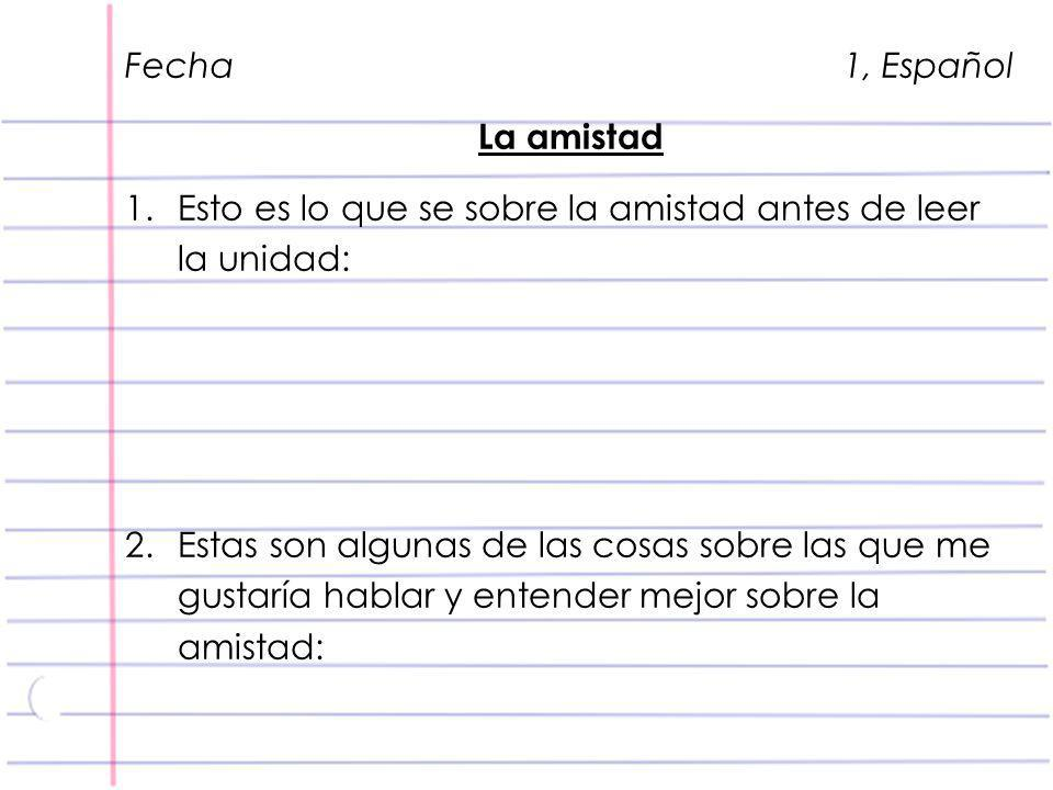 Fecha 1, Español La amistad.