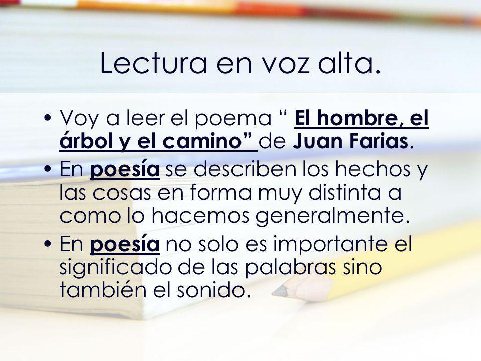 Lectura en voz alta. Voy a leer el poema El hombre, el árbol y el camino de Juan Farias.