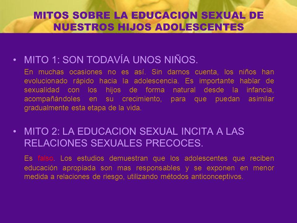 MITOS SOBRE LA EDUCACION SEXUAL DE NUESTROS HIJOS ADOLESCENTES