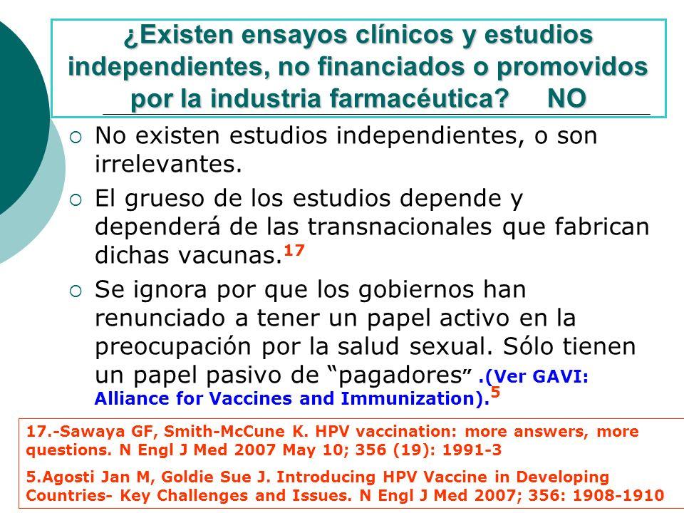 ¿Existen ensayos clínicos y estudios independientes, no financiados o promovidos por la industria farmacéutica NO