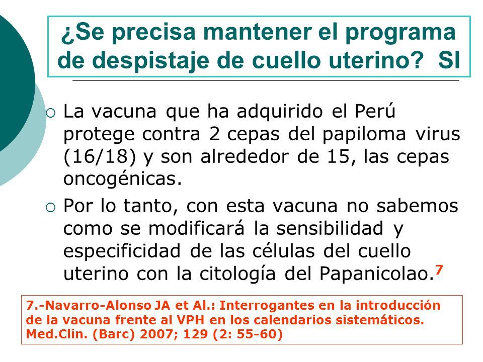 ¿Se precisa mantener el programa de despistaje de cuello uterino SI