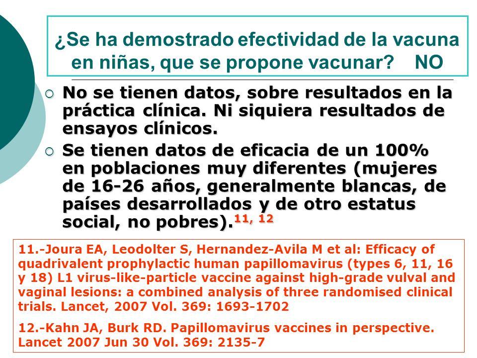 ¿Se ha demostrado efectividad de la vacuna en niñas, que se propone vacunar NO