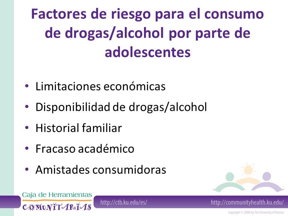Factores de riesgo para el consumo de drogas/alcohol por parte de adolescentes