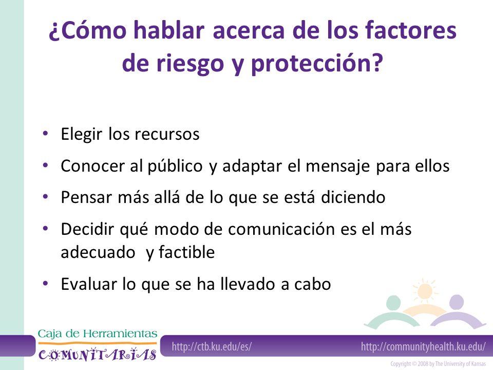 ¿Cómo hablar acerca de los factores de riesgo y protección