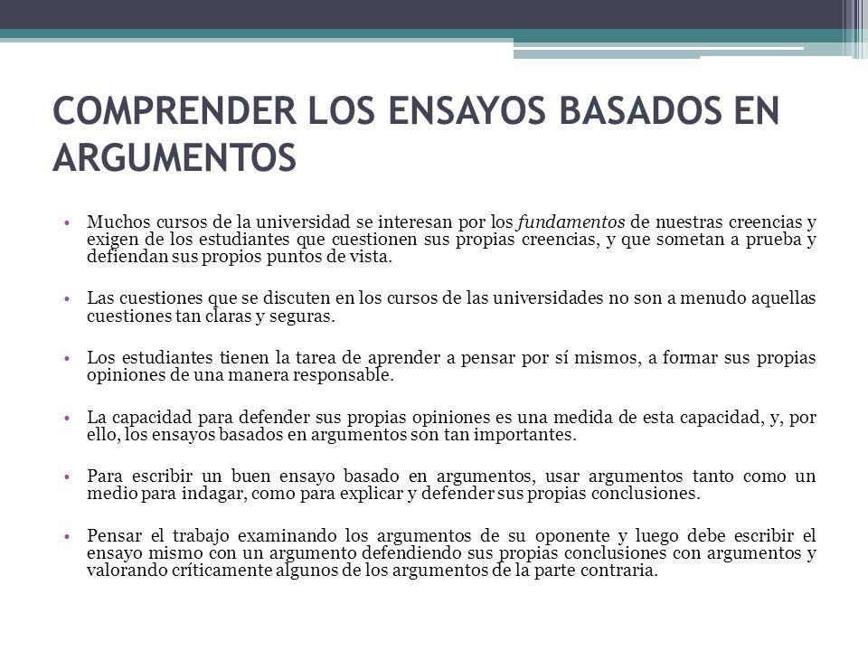 COMPRENDER LOS ENSAYOS BASADOS EN ARGUMENTOS