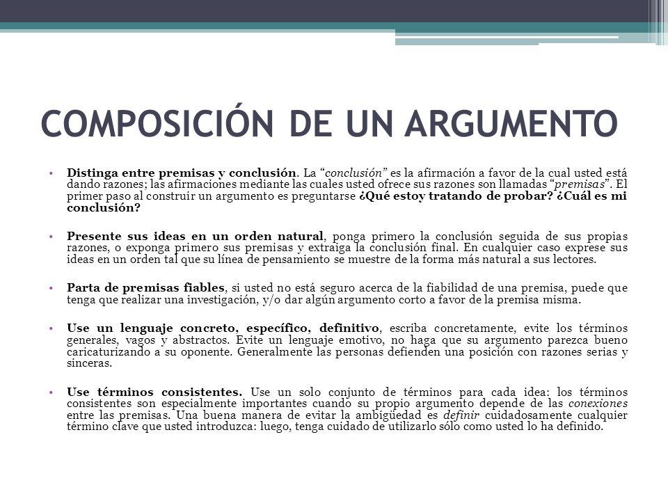 COMPOSICIÓN DE UN ARGUMENTO