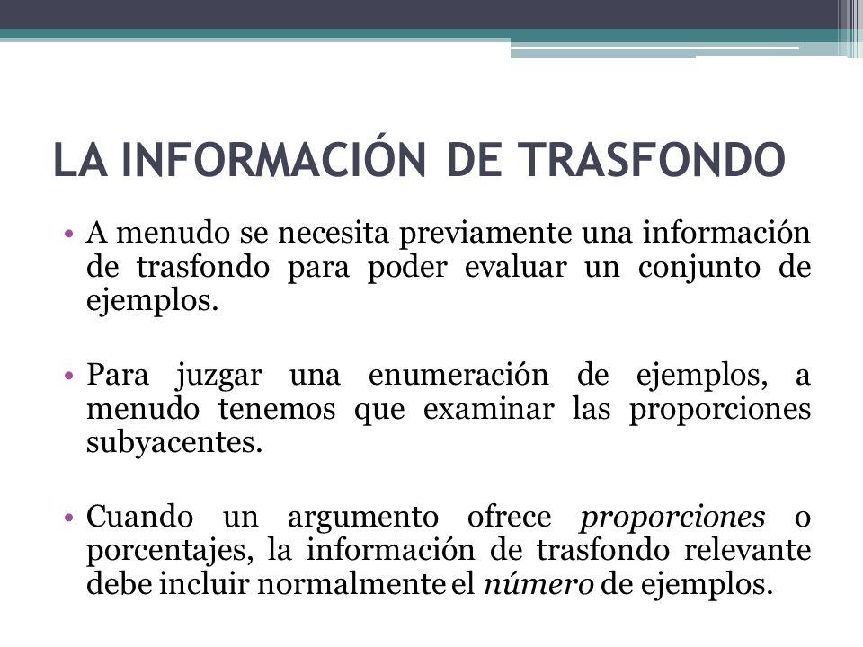 LA INFORMACIÓN DE TRASFONDO