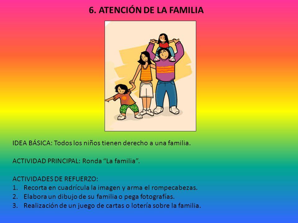 6. ATENCIÓN DE LA FAMILIA IDEA BÁSICA: Todos los niños tienen derecho a una familia. ACTIVIDAD PRINCIPAL: Ronda La familia .
