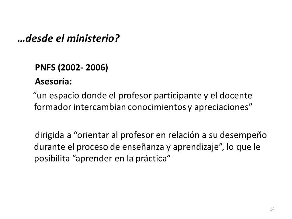 …desde el ministerio PNFS (2002- 2006) Asesoría: