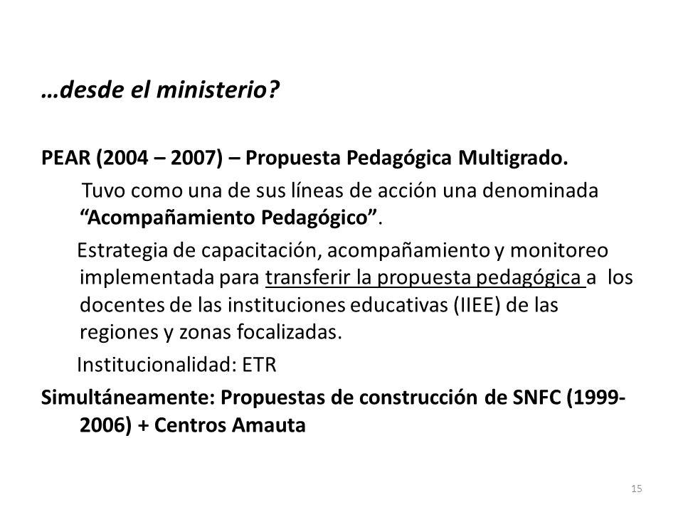…desde el ministerio PEAR (2004 – 2007) – Propuesta Pedagógica Multigrado.