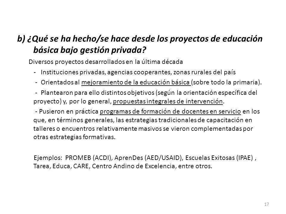 b) ¿Qué se ha hecho/se hace desde los proyectos de educación básica bajo gestión privada