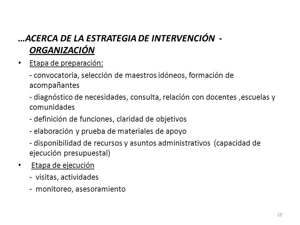…ACERCA DE LA ESTRATEGIA DE INTERVENCIÓN - ORGANIZACIÓN