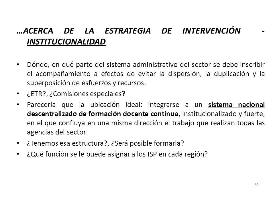 …ACERCA DE LA ESTRATEGIA DE INTERVENCIÓN - INSTITUCIONALIDAD