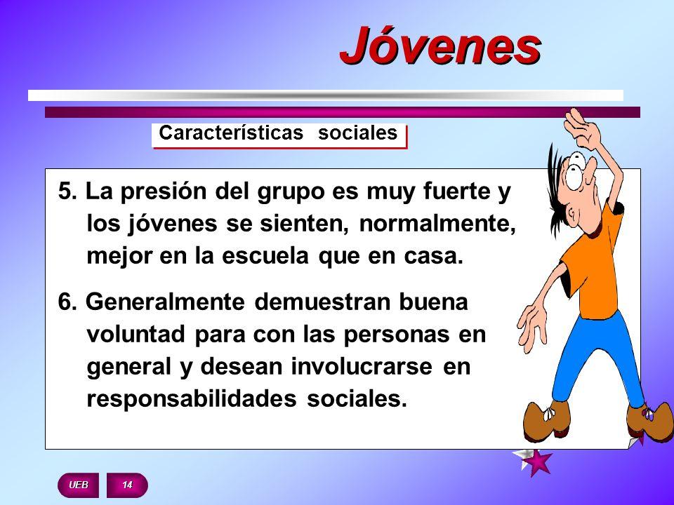 Jóvenes Características sociales. 5. La presión del grupo es muy fuerte y los jóvenes se sienten, normalmente, mejor en la escuela que en casa.