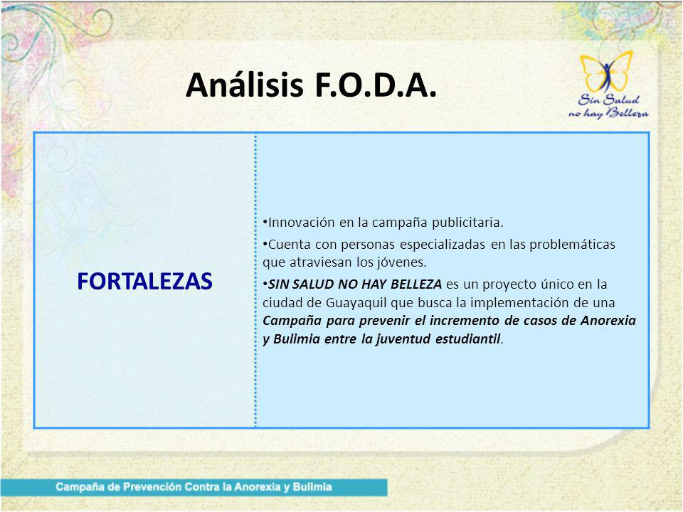 Análisis F.O.D.A. FORTALEZAS Innovación en la campaña publicitaria.