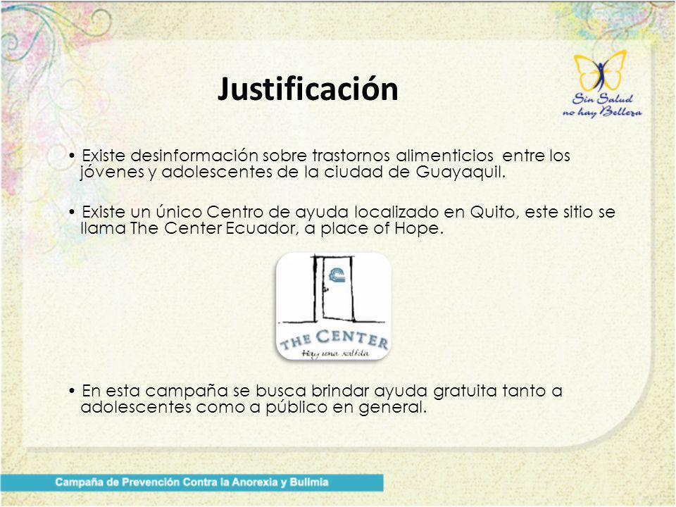 Justificación • Existe desinformación sobre trastornos alimenticios entre los jóvenes y adolescentes de la ciudad de Guayaquil.
