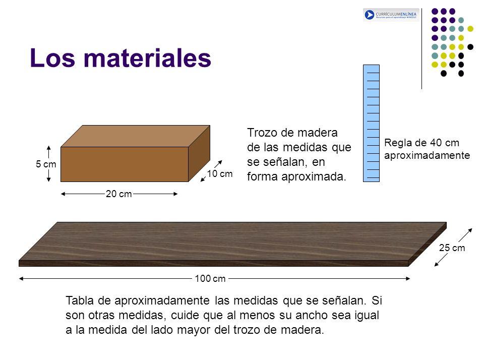 Los materiales Trozo de madera de las medidas que se señalan, en forma aproximada. Regla de 40 cm aproximadamente.
