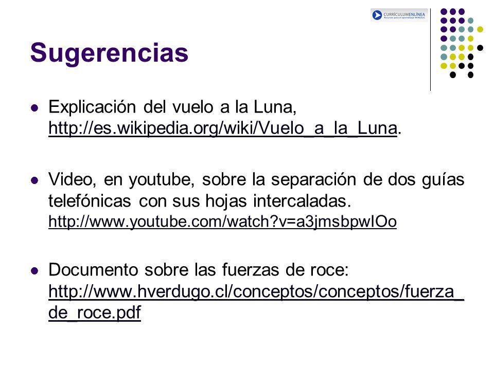 Sugerencias Explicación del vuelo a la Luna, http://es.wikipedia.org/wiki/Vuelo_a_la_Luna.