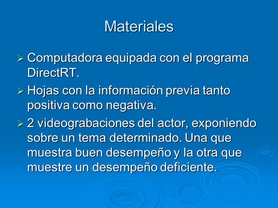 Materiales Computadora equipada con el programa DirectRT.