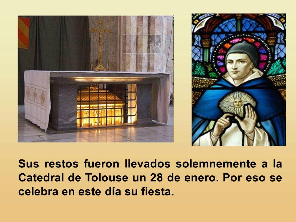 Sus restos fueron llevados solemnemente a la Catedral de Tolouse un 28 de enero.