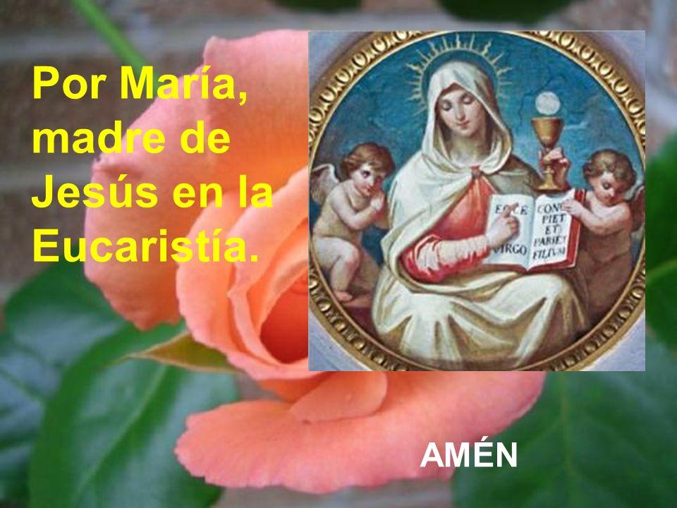 Por María, madre de Jesús en la Eucaristía.