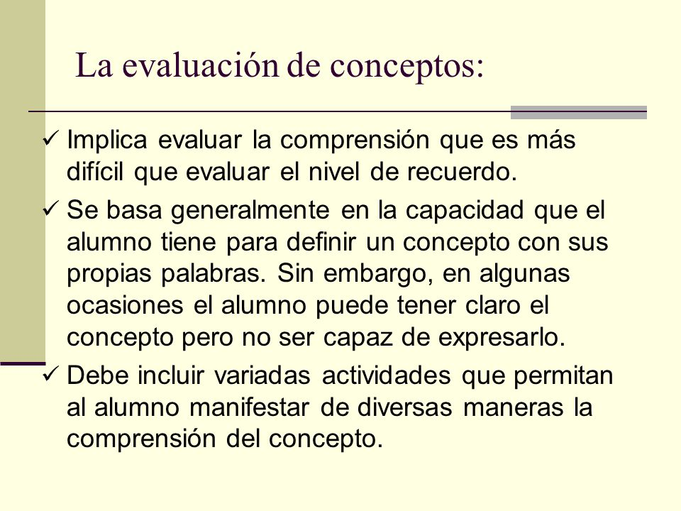 La evaluación de conceptos: