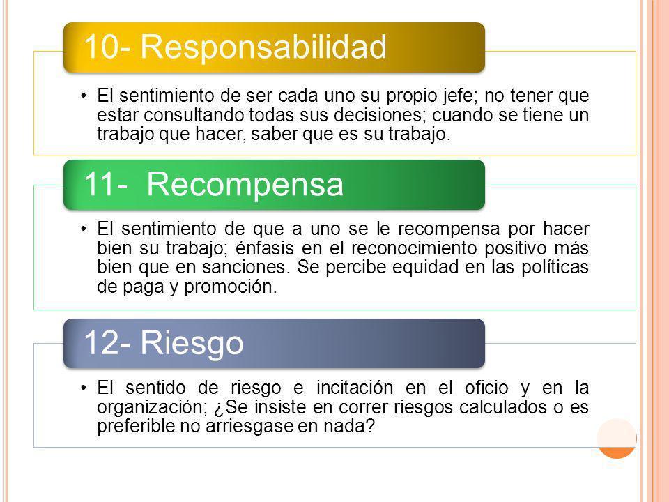 10- Responsabilidad 11- Recompensa 12- Riesgo