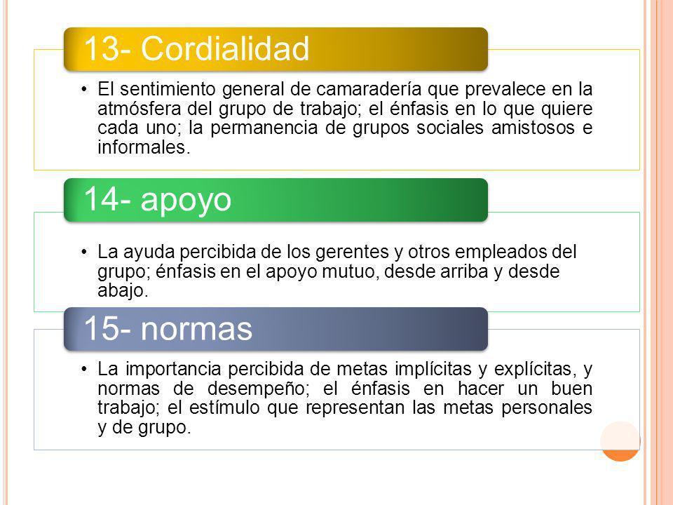 13- Cordialidad 14- apoyo 15- normas