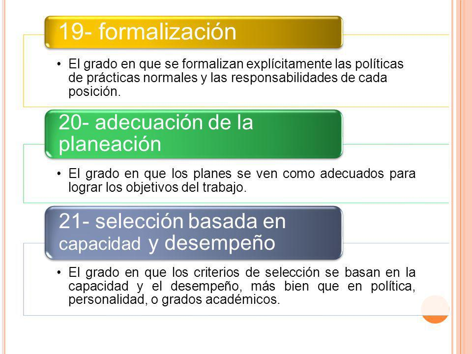 19- formalización 21- selección basada en capacidad y desempeño