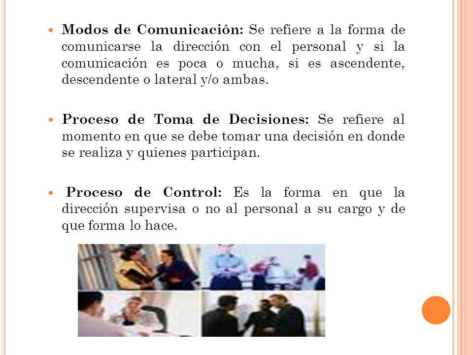 Modos de Comunicación: Se refiere a la forma de comunicarse la dirección con el personal y si la comunicación es poca o mucha, si es ascendente, descendente o lateral y/o ambas.