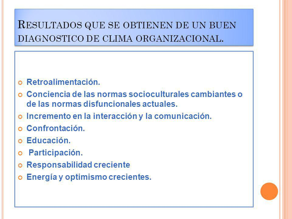 Resultados que se obtienen de un buen diagnostico de clima organizacional.