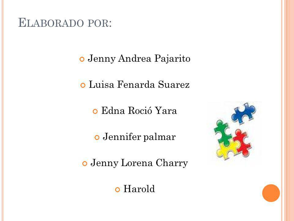 Elaborado por: Jenny Andrea Pajarito Luisa Fenarda Suarez