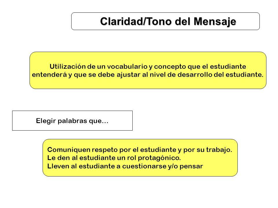 Claridad/Tono del Mensaje