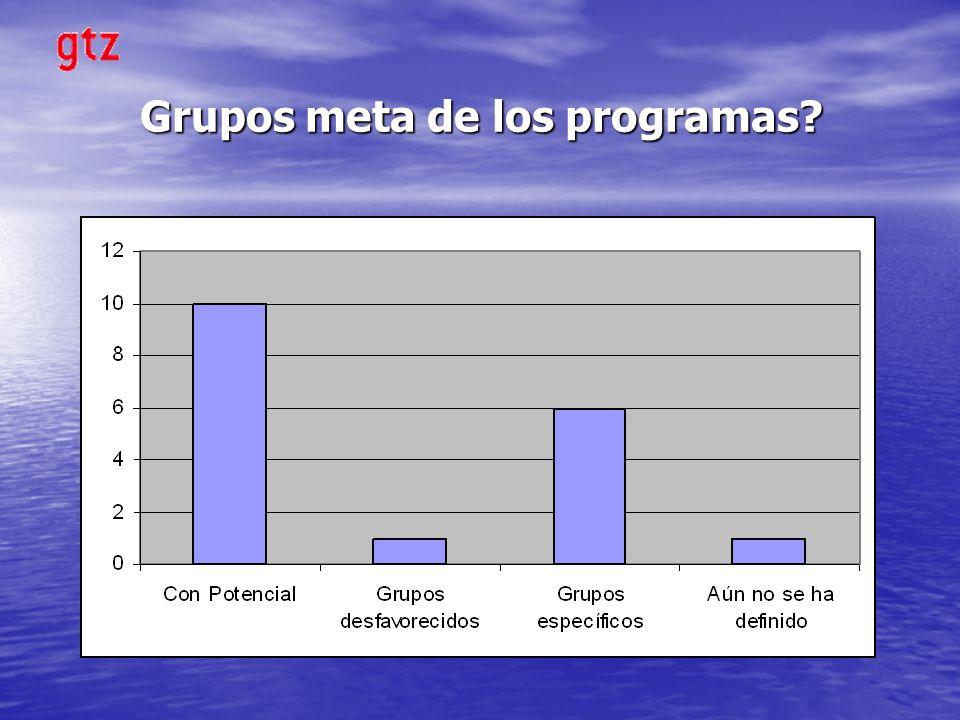 Grupos meta de los programas