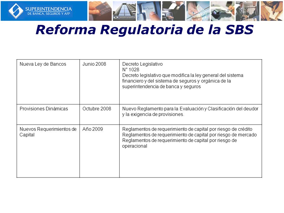 Reforma Regulatoria de la SBS