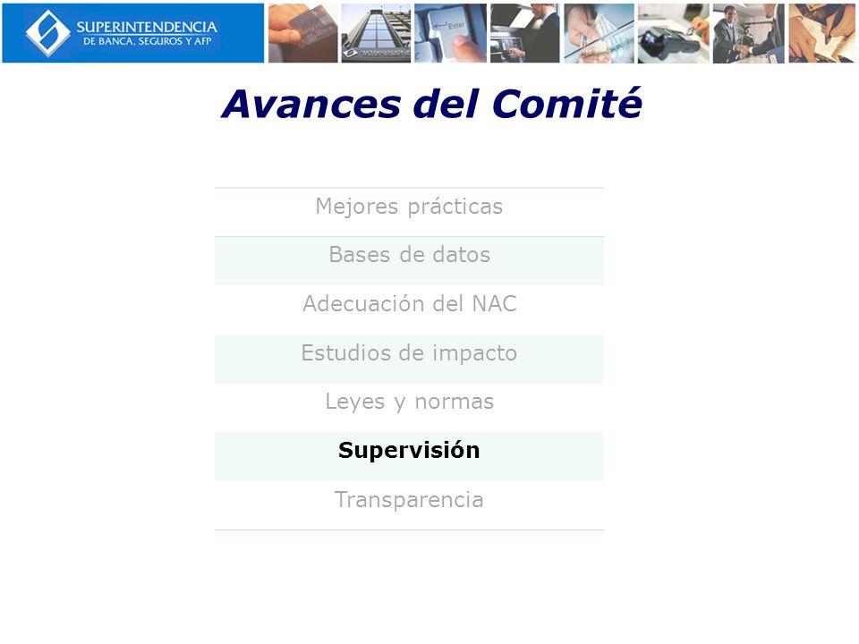 Avances del Comité Mejores prácticas Bases de datos Adecuación del NAC