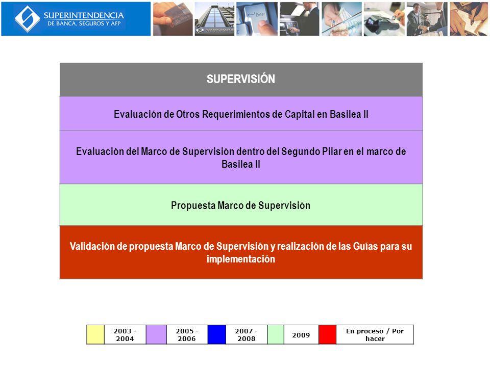 SUPERVISIÓN Evaluación de Otros Requerimientos de Capital en Basilea II.