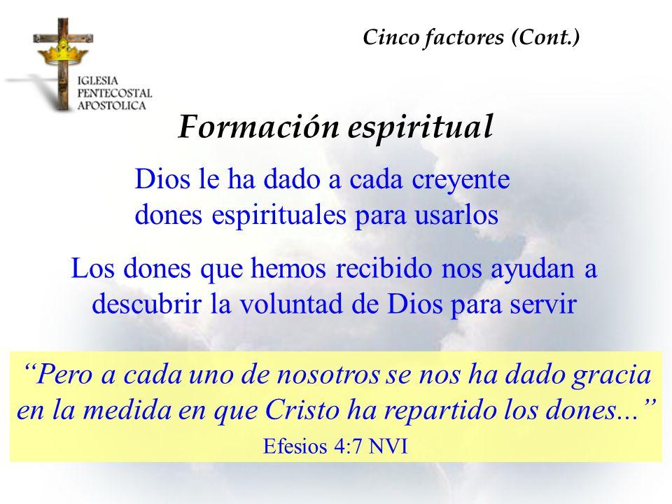 Cinco factores (Cont.) Formación espiritual. Dios le ha dado a cada creyente dones espirituales para usarlos.