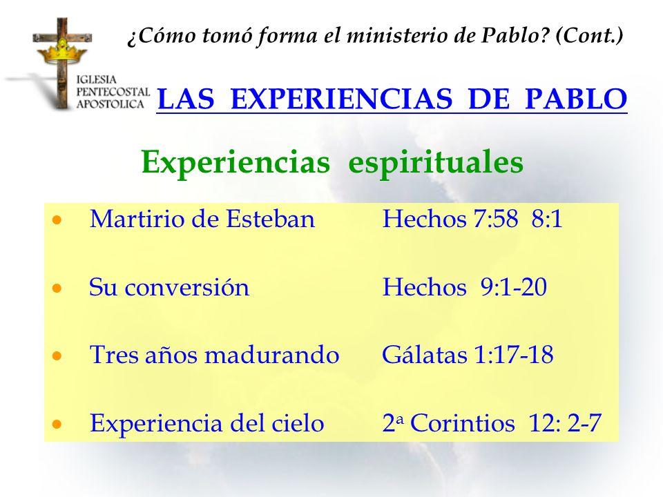LAS EXPERIENCIAS DE PABLO