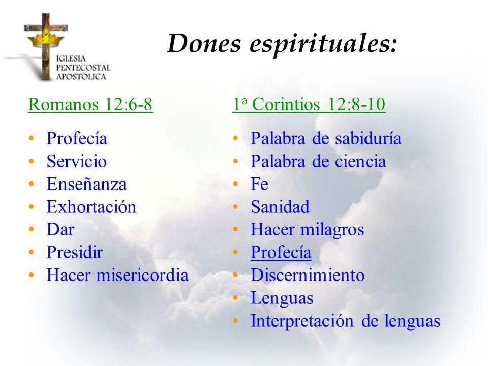 Dones espirituales: Romanos 12:6-8 Profecía Servicio Enseñanza