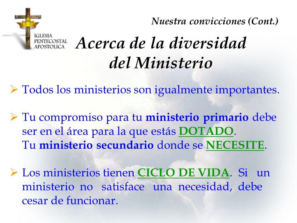 Acerca de la diversidad del Ministerio