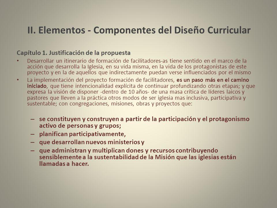 II. Elementos - Componentes del Diseño Curricular