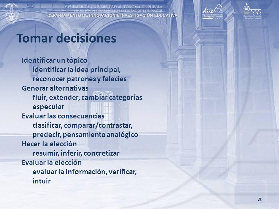 Tomar decisiones Identificar un tópico identificar la idea principal,