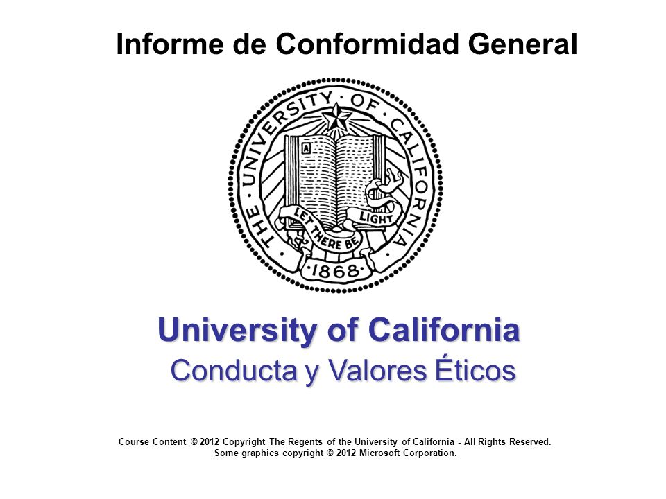 University of California Conducta y Valores Éticos