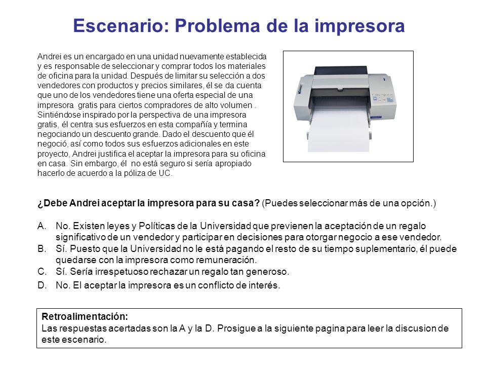 Escenario: Problema de la impresora