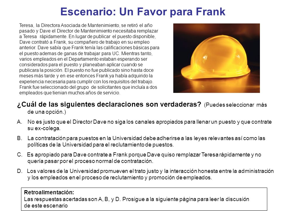 Escenario: Un Favor para Frank